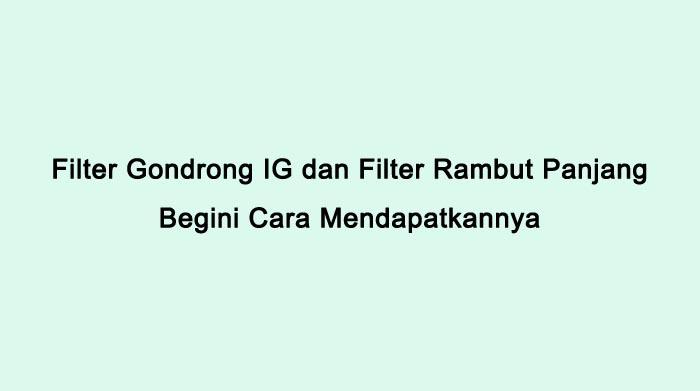 Filter Gondrong Filter Rambut Panjang Di IG 2021