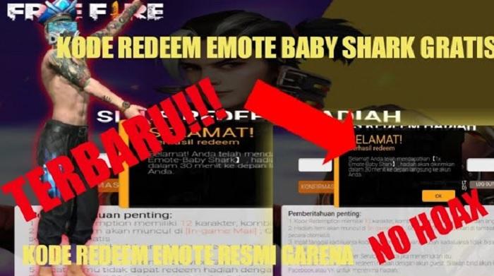 Kode Redeem Emote Baby Shark FF 12 Januari 2021