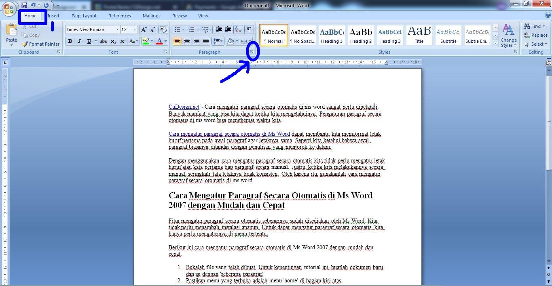 cara mengatur paragraf secara otomatis di ms word